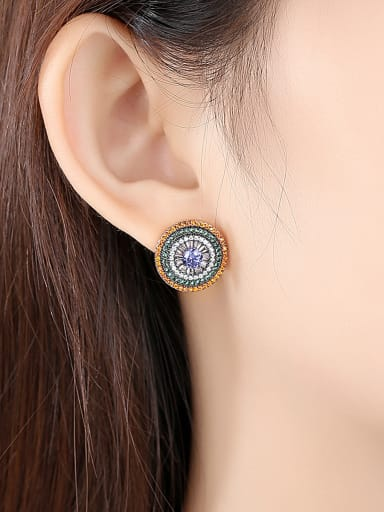 Copper With Gold Plated Vintage Round Cluster Earrings