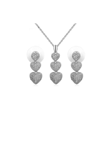 Copper With Cubic Zirconia Delicate Heart  Earrings And Necklaces 2 Piece Jewelry Set