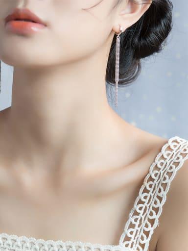 Trendy Geometric Shaped S925 Silver Tassel Drop Earrings