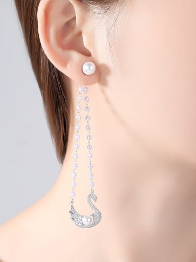Copper With White Gold Plated Fashion Swan Chandelier Earrings