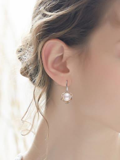 Simple Flowery Freshwater Pearl Silver Earrings