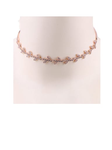 Copper With Cubic Zirconia  Fashion Leaf Necklaces