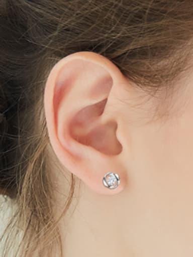 Fashion Tiny Cubic Zircon 925 Silver Stud Earrings