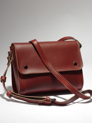 Crazy Horse Leather Retro Brown Crossbody Bag