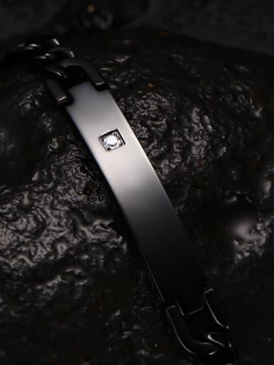 Personality Black Gun Plated Rhinestone Titanium Bracelet