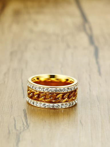 Trendy Gold Plated Geometric Rhinestone Ring