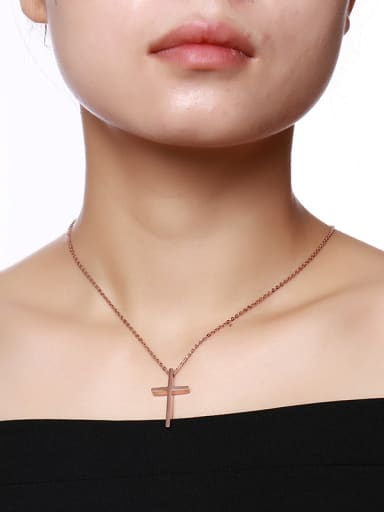 Couples Rose Gold Plated Cross Shaped Titanium Necklace