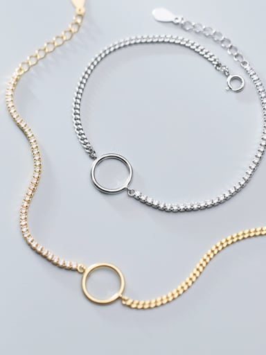 925 Sterling Silver With Gold Plated Simplistic Chain Bracelets