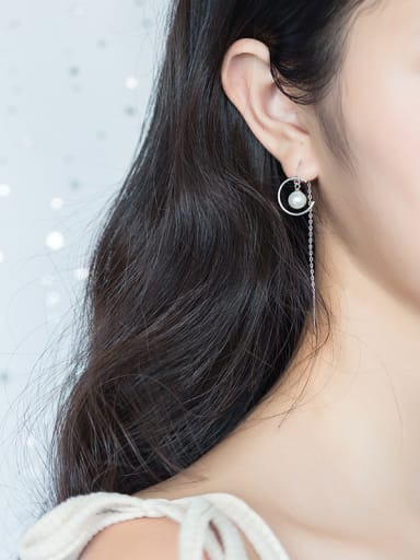 Trendy Moon Shaped S925 Silver Artificial Pearl Line Earrings