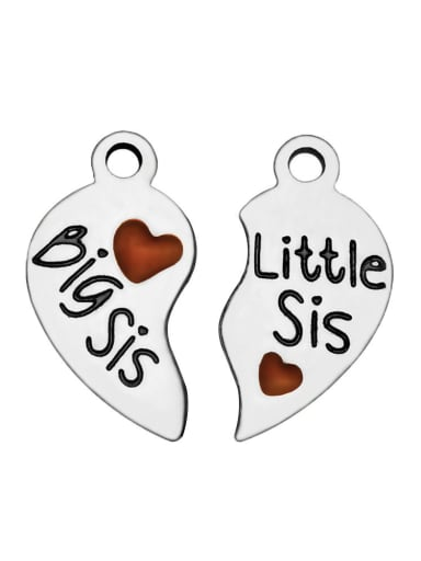 Stainless Steel With Silver Plated Trendy Heart Charms
