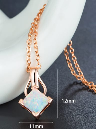 Square Opal Stone Necklace