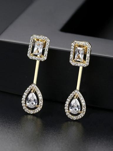 Copper  With Cubic Zirconia Simplistic Geometric Drop Earrings