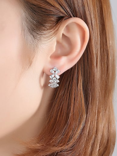 Copper With Platinum Plated Delicate Flower Stud Earrings