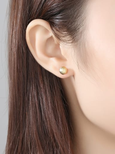 Copper With 18k Gold Plated Simplistic Ball Stud Earrings