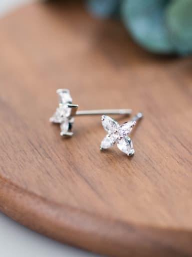 Temperament Flower Shaped Rhinestones S925 Silver Stud Earrings