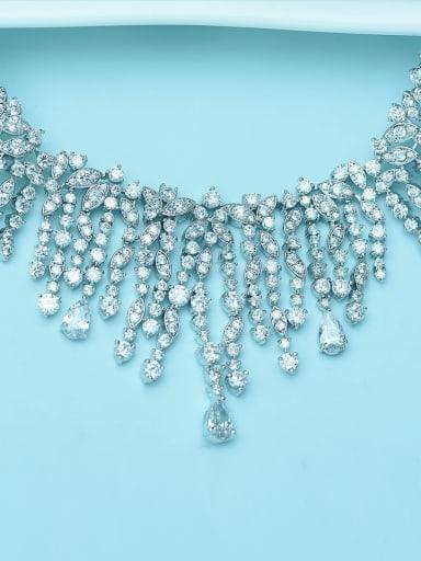 Copper inlaid AAA zircons  luxury Bridal Necklace