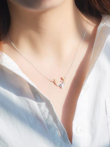 Sterling silver sweet elk antler necklace