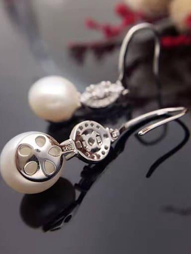 Freshwater Pearl Zircon Round drop earring