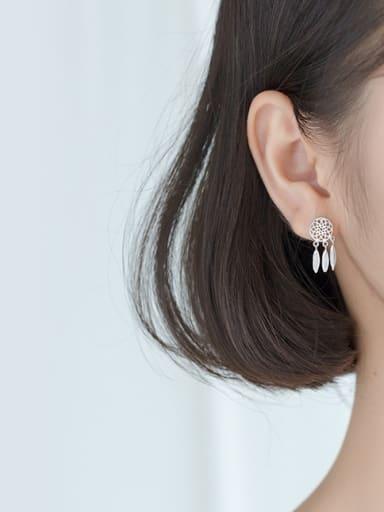 S925 silver earrings simple dream catcher tassel short earrings