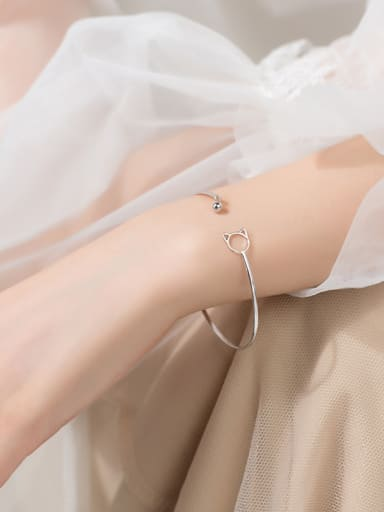 925 Sterling Silver With Platinum Plated Fashion Cat Bangles