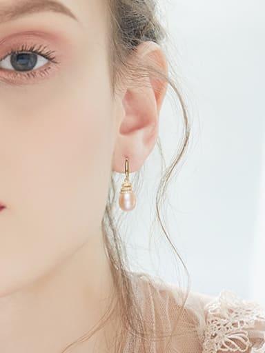 Elegant Freshwater Pearl Cubic Zirconias 925 Silver Earrings