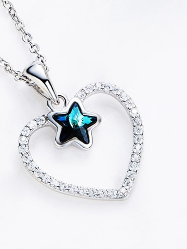 Fashion Star Swarovski Crystal Hollow Heart 925 Silver Pendant