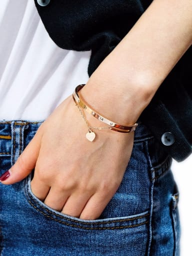 Stainless Steel With Rose Gold Plated Simplistic tassels Heart with Rome number Bangles