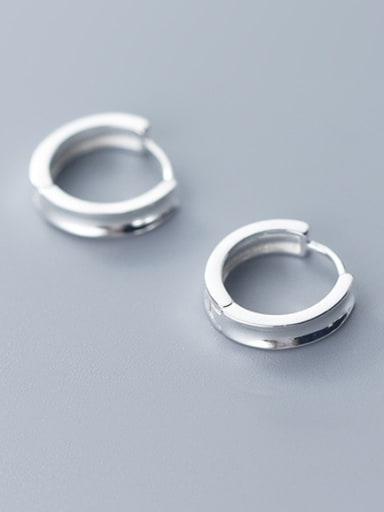 925 Sterling Silver With Silver Plated Simplistic Round Clip On Earrings