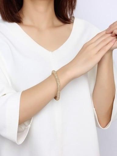 Trendy Net Shaped Stainless Steel Crystal Bracelet