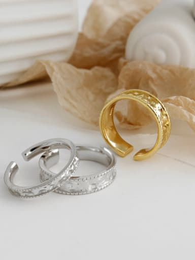 925 Sterling Silver With Gold Plated Classic Wrinkle Round Free Size Rings