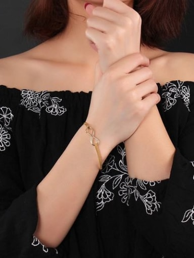 Exquisite Number Eight Shaped Gold Plated Titanium Bangle