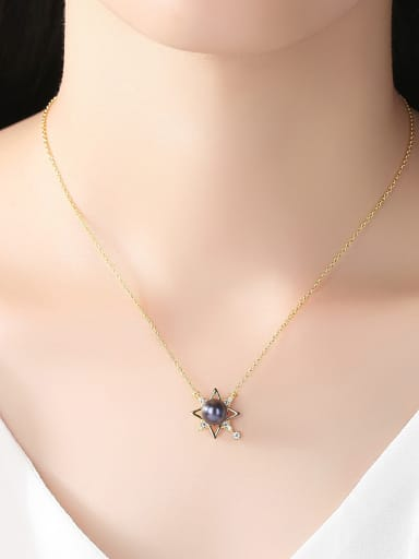 Sterling Silver plated 18k-gold Freshwater Pearl Necklace