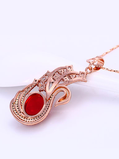 Copper Alloy Rose Gold Plated Creative Swan Zircon Necklace