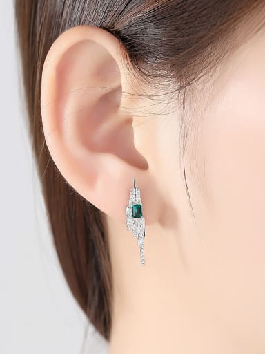 Sterling silver emerald inlaid zircon geometric free size earring