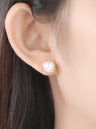 Copper With gold Plated  Imitation Pearl Stud Earrings