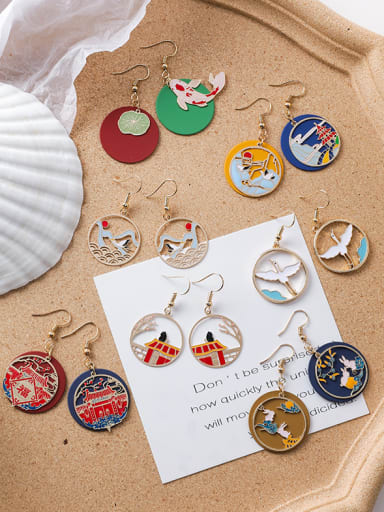 Alloy With Rose Gold Plated Ethnic Painted Koi Printed Palace Hook Earrings