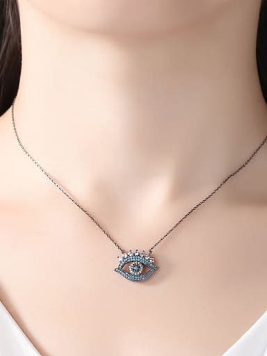 Copper With Gun Plated Exaggerated Evil Eye Necklaces