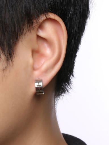 Personality Cross Pattern Stainless Steel Clip Earrings