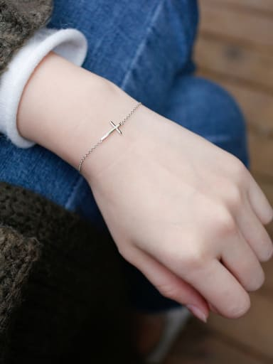 925 Sterling Silver With White Gold Plated Classic Cross Bracelets