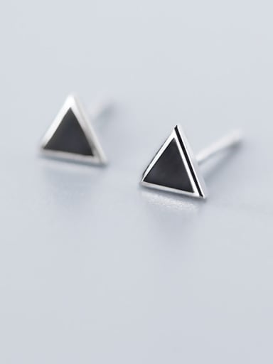 925 Sterling Silver With  Enamel Simplistic Triangle Stud Earrings