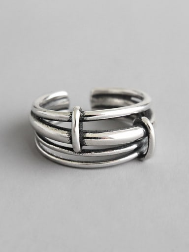925 Sterling Silver With Glossy  Vintage Multi-Layer Ring Free Size Rings
