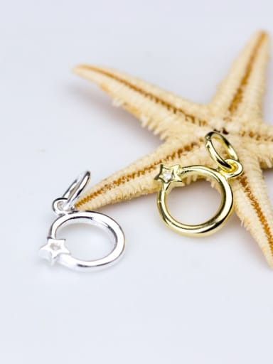 925 Sterling Silver With Silver Plated Zirconium geometry Charms
