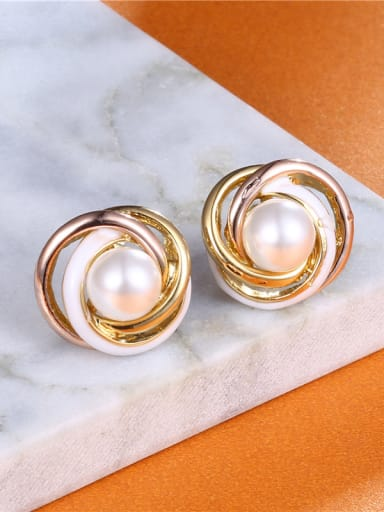 Luxury Multi-color Gold Plated Artificial Pearl Earrings