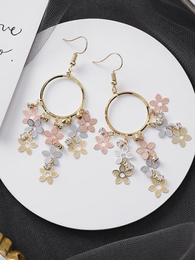 Alloy With Imitation Gold Plated Bohemia Flower Chandelier Earrings