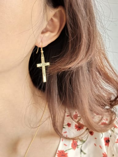 Sterling Silver Cross Gold Earrings