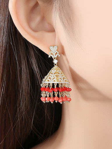 Copper With Gold Plated Luxury Irregular Chandelier Earrings