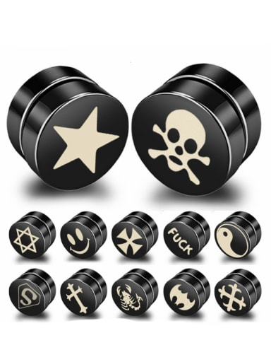 Stainless Steel With Black Gun Plated Personality Round Magnetic Hematite Clasps Stud Earrings