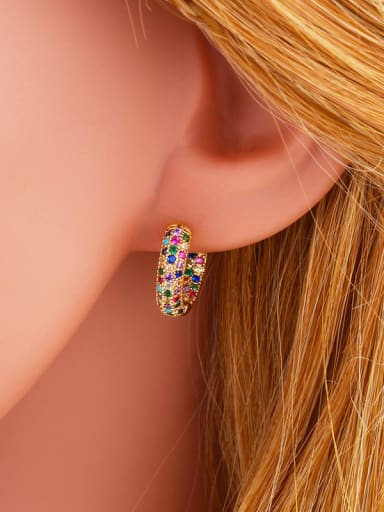 Copper With  Cubic Zirconia Fashion Geometric Clip On Earrings