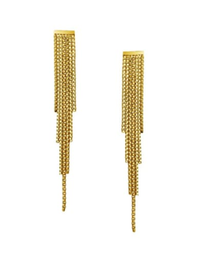 Titanium With Gold Plated Simplistic Chain Tassel Earrings
