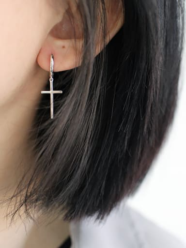 Simple Cross Smooth Silver Earrings